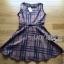 Lady Ribbon's Made Lady Cris British Elegant Check Printed Beige Dress thumbnail 5