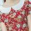 XL775 ชุดเดรสผ้า Canvas พื้นแดงลายดอก แต่งปก กระเป๋า ติดโบว์ ผ้าสีขาว เพิ่มความน่ารักให้กับชุด thumbnail 12