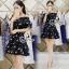 Sevy Cherry Blossom Off Shoulder Elastic Waist Mini Dress thumbnail 1