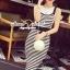 Seoul Secret Say's... Chic Stripy bib Dress สีดำ thumbnail 3
