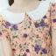 XL777ชุดเดรสผ้า Canvas พื้นส้มลายดอก แต่งปก กระเป๋า ติดโบว์ ผ้าสีขาว เพิ่มความน่ารักให้กับชุด thumbnail 4