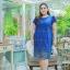 3 Size= ,2XL,3XL,4XL, ชุดเดรสสาวอวบ++ ผ้าชีฟองฉลุลายสีน้ำเงิน นำเข้าจากญี่ปุ่น แขนชีฟองระบาย 2 ชั้น thumbnail 4