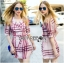 Lady Ribbon's Made Lady Susan Double-Breast Checked Pink Trench Coat thumbnail 3