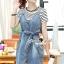 Seoul Secret Say's... Chill Cami Denim Dress Stripy Cami Blouse Set thumbnail 2