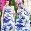 Lady Grace Sexy Elegant White and Blue Printed Cut-Out Back Maxi Dress thumbnail 3