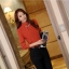 เสื้อทำงาน คอเต่า แขนยาว ผ้าฝ้ายผสมชีฟอง ทรงเข้ารูป เสื้อทำงานสีส้ม รหัส 73992-ส้ม thumbnail 11