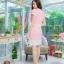 5 Size= M,L,XL, 3XL ,5XL ชุดเดรส-ชุดเดรสไซส์ใหญ่ ผ้า Hanako สีชมพู แต่งคอ ขอบเอว ชายกระโปรงสีขาวเพิ่มความเก๋ thumbnail 5