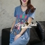 Seoul Secret Say's .... Fashly Girl Print Denim Dress thumbnail 4