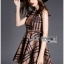 Lady Ribbon's Made Lady Cris British Elegant Check Printed Beige Dress สีเบจ thumbnail 3