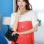 เสื้อแฟชั่น คอกลม แขนสั้น ผ้าชีฟอง เสื้อสีขาวตัดสีแดงส้ม รหัส 44123-แดง thumbnail 1