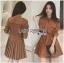 Lady Ribbon's Made Lady Eva Military Inspired Pleated Shirt Dress สีน้ำตาลคาเมล thumbnail 2