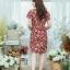 XL775 ชุดเดรสผ้า Canvas พื้นแดงลายดอก แต่งปก กระเป๋า ติดโบว์ ผ้าสีขาว เพิ่มความน่ารักให้กับชุด thumbnail 13