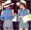 Lady Ribbon's Made Lady Sarah Summer Holiday Cut Out Denim Shirt and Pattern Printed Shorts Set thumbnail 3