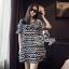 Sevy Geometric Striped Contrast Cut Shoulder Mini Dress thumbnail 3
