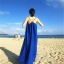 ชุดเดรสยาวใส่ไปเที่ยวทะเลสีน้ำเงิน สายเดียว ทรงหลวม ใส่ไปทะเล สบายๆ thumbnail 4