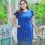 3 Size= ,2XL,3XL,4XL, ชุดเดรสสาวอวบ++ ผ้าชีฟองฉลุลายสีน้ำเงิน นำเข้าจากญี่ปุ่น แขนชีฟองระบาย 2 ชั้น thumbnail 12