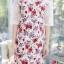 XL831 ชุดแซกผ้า Canvas TM พื้นขาวครีม ลายดอกม่วง ด้านบนและแขนตัดต่อผ้าลูกไม้ thumbnail 5