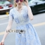 Lady Ribbon's Made Lady Gabby Feminine Pretty Blue Floral Lace Dress thumbnail 4