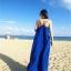 ชุดเดรสยาวใส่ไปเที่ยวทะเลสีน้ำเงิน สายเดียว ทรงหลวม ใส่ไปทะเล สบายๆ thumbnail 3