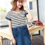 Lady Miranda Casual Minimal Striped and Denim Dress thumbnail 3