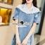 Seoul Secret Say's... Lacely Colar Denim Dress สีอ่อน thumbnail 2
