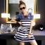 Lady Ribbon's Made Lady Rita Casual Style Cut-Out Denim Striped Dress thumbnail 3