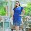 3 Size= ,2XL,3XL,4XL, ชุดเดรสสาวอวบ++ ผ้าชีฟองฉลุลายสีน้ำเงิน นำเข้าจากญี่ปุ่น แขนชีฟองระบาย 2 ชั้น thumbnail 3