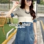 Seoul Secret Say's... Sweet Gray Stripe Denim Dress thumbnail 2