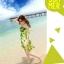 ชุดเดรสสั้น โบฮีเมียนเที่ยวทะเล ผ้าชีฟอง สายเดี่ยว ลายดอกไม้ เอวยืด หน้าอกแต่งระบาย สีเขียว thumbnail 4