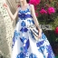 Lady Grace Sexy Elegant White and Blue Printed Cut-Out Back Maxi Dress thumbnail 7