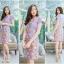 3XL ,5XL ชุดเดรส-ชุดเดรสไซส์ใหญ่ ทรงสูทผ้า Hanako สีม่วง ชุดและขอบเอวผ้าไหมลายดอก thumbnail 2
