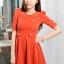 ชุดทำงานเกาหลี ชุดทำงานแฟชั่น ชุดทำงานน่ารัก ผ้าขนไก่ ประดับกระดุมสีทอง แขนสามส่วน กระโปรงบาน ชุดทำงานสีส้ม thumbnail 1