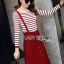 Lady Ribbon's Made Lady Elena Super Chic Striped Wool Knit Sweater and Overall Dress สีแดง thumbnail 2