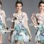 Seoul Secret Say's... Peafowl Saphire Tonely Printed Dress thumbnail 5