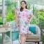 5XL ชุดเดรสสาวอวบ++ผ้าkorea print ทอลายดอกโทนสีชมพู จุดเด่นของชุดนี้ ดีไซน์กั๊กสุดเก๋ ติดโบว์ thumbnail 6