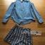 Lady Ribbon's Made Lady Sarah Summer Holiday Cut Out Denim Shirt and Pattern Printed Shorts Set thumbnail 5