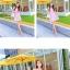 V-4-T746-ชมพู ชุดเดรสทำงานสีชมพู แขนสั้น คอกลม กระโปรงบาน สวยหวาน thumbnail 3