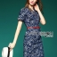 Lady Ribbon's Made Lady Kristen Floral Printed Denim Shirt Dress with Red Belt thumbnail 4