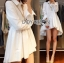 Lady Ribbon's Made Lady Jane Feminine Asymmetric Peplum Cotton Shirt Dress สีขาว thumbnail 4