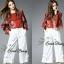 Sweet Bunny Present... Gucci sakura blouse and white wide pants set thumbnail 2
