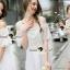 Seoul Secret Say's... Open Shoulder Pearly&Diamond Furnish Dress สีขาว thumbnail 4