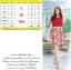 M, 3XL ,5XL ชุดเดรส-ชุดเดรสไซส์ใหญ่ เสื้อผ้าชีฟอง สีแดง คอจับจีบ ขอบเอวแต่งสีขาว กระโปรง ผ้า Hanako thumbnail 4