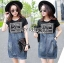 Lady Ribbon's Made Lady Natalie Street Chic Printed Jersey with Denim Mini Dress สีดำ thumbnail 4