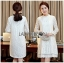 Lady Ribbon's Made Lady Nara Classic Striped High-Neck Lace Dress สีขาว thumbnail 4