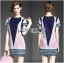 Lady Ribbon's Made Lady Elaine Minimal Graphic Line Printed Cotton&Polyester Dress thumbnail 1