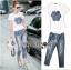 Lady Ribbon's Made Lady Coco Camellia Denim Embroidered T-Shirt and Skinny Jeans Set thumbnail 4