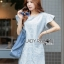 Lady Ribbon's Made Lady Jill Geometry Flared-Sleeved Brocade Denim Dress thumbnail 1