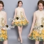 Seoul Secret Say's... Yellow Flora Girly Silkly Dress thumbnail 4