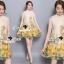 Seoul Secret Say's... Yellow Flora Girly Silkly Dress thumbnail 4