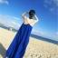ชุดเดรสยาวใส่ไปเที่ยวทะเลสีน้ำเงิน สายเดียว ทรงหลวม ใส่ไปทะเล สบายๆ thumbnail 7